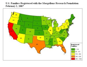 Maps of Morgellons Research Foundation Registrants in the United States